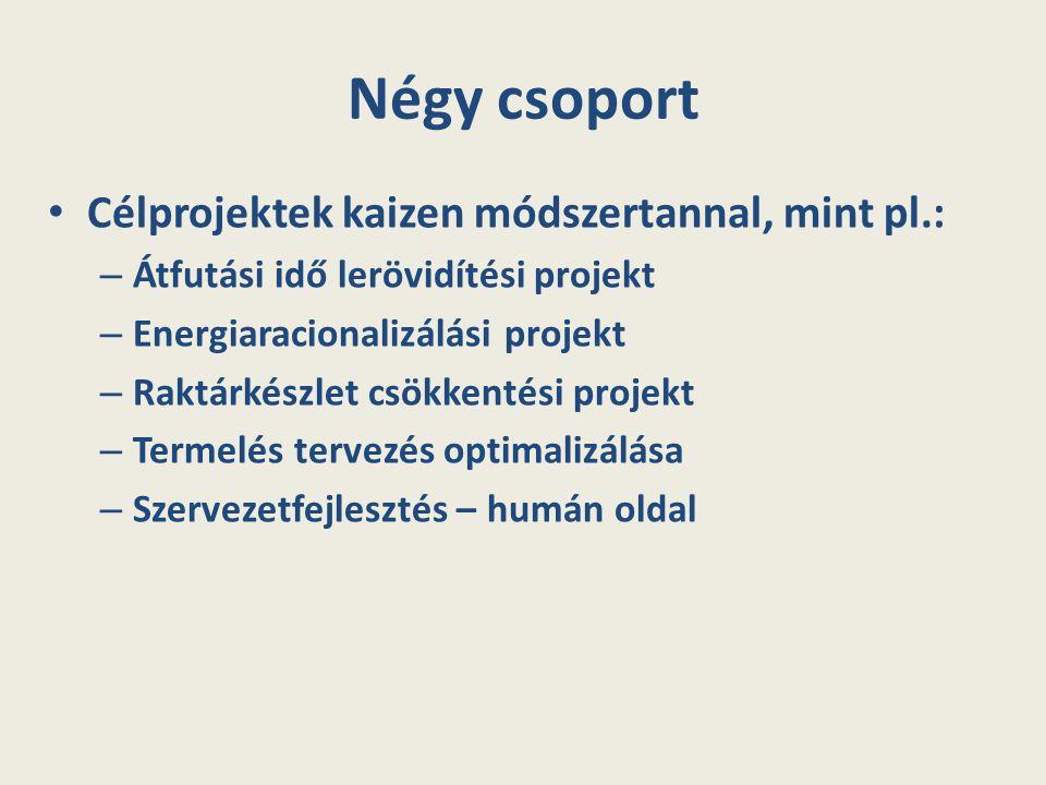 Négy csoport Célprojektek kaizen módszertannal, mint pl.: