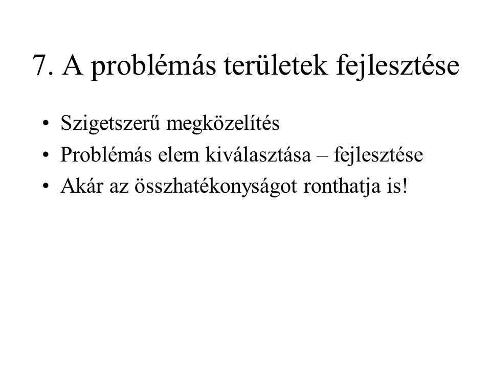 7. A problémás területek fejlesztése