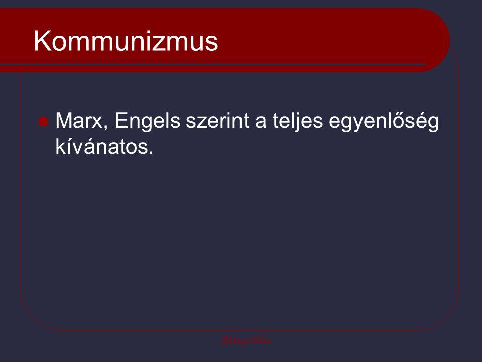 Kommunizmus Marx, Engels szerint a teljes egyenlőség kívánatos.