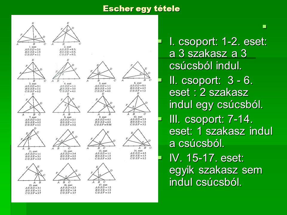 I. csoport: 1-2. eset: a 3 szakasz a 3 csúcsból indul.