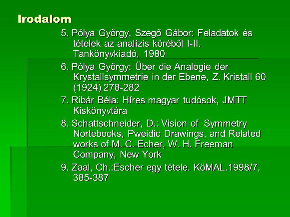Irodalom 5. Pólya György, Szegő Gábor: Feladatok és tételek az analízis köréből I-II. Tankönyvkiadó, 1980.