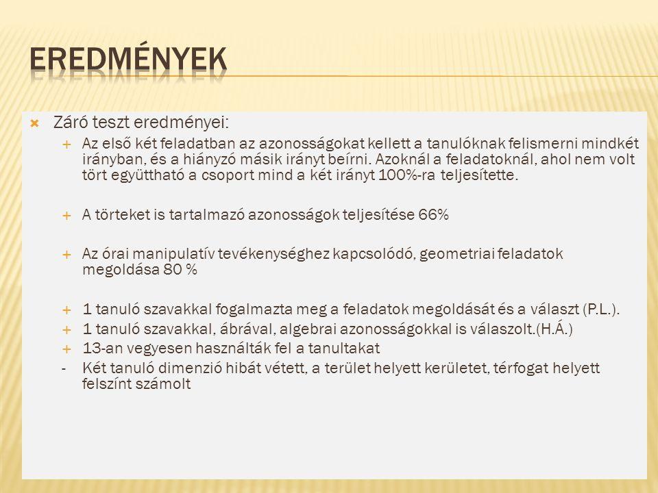 Eredmények Záró teszt eredményei: