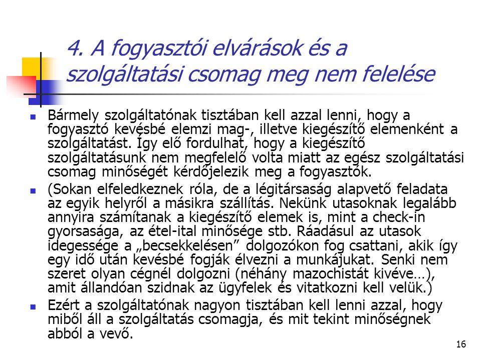 4. A fogyasztói elvárások és a szolgáltatási csomag meg nem felelése
