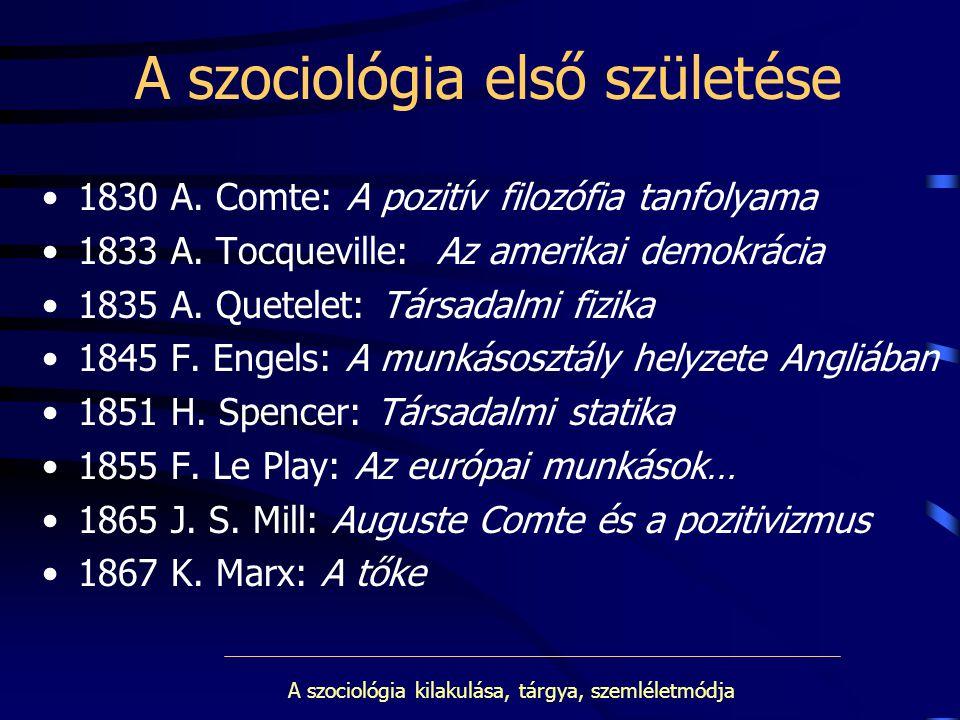 A szociológia első születése