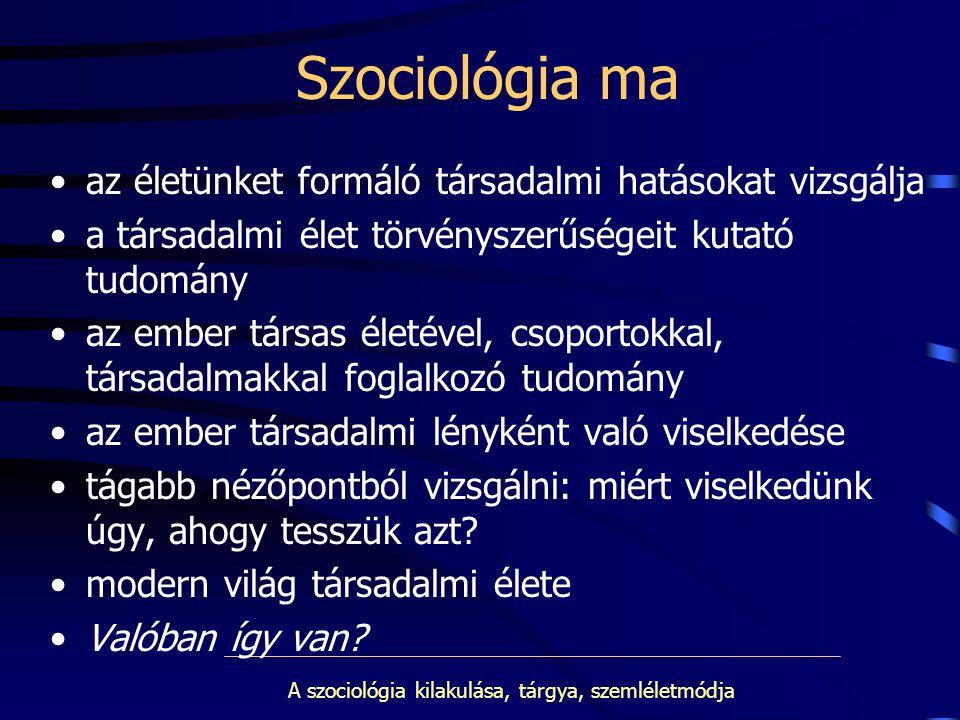 A szociológia kilakulása, tárgya, szemléletmódja