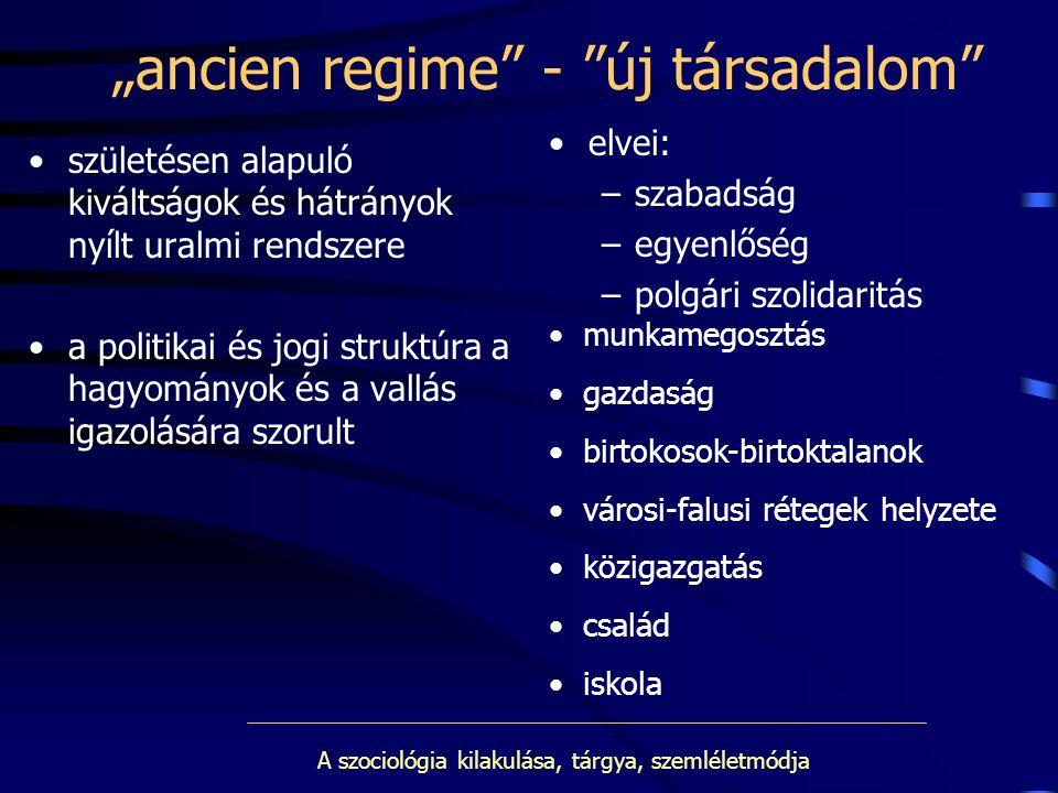 """""""ancien regime - új társadalom"""