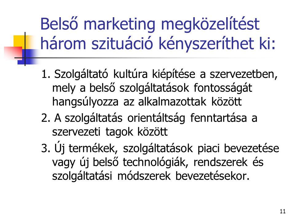 Belső marketing megközelítést három szituáció kényszeríthet ki:
