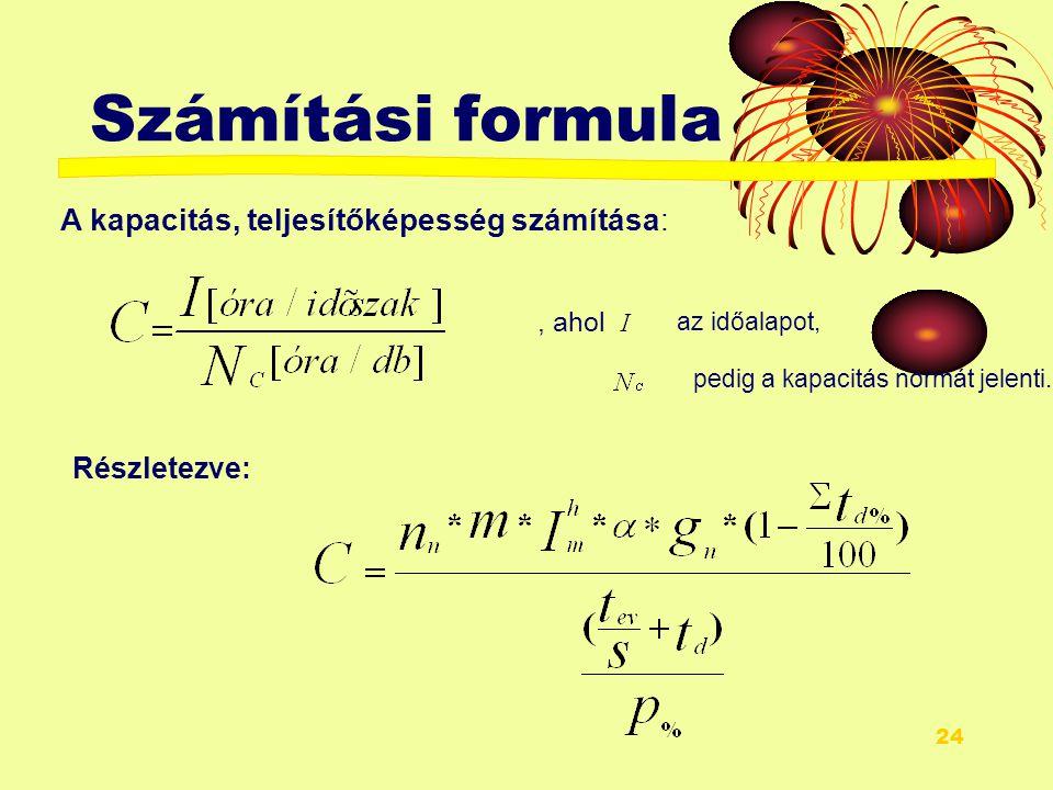 Számítási formula A kapacitás, teljesítőképesség számítása: