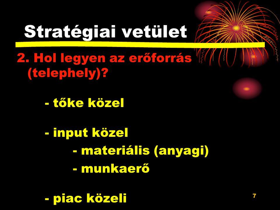 Stratégiai vetület 2. Hol legyen az erőforrás (telephely) - tőke közel - input közel. - materiális (anyagi)