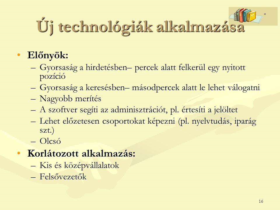 Új technológiák alkalmazása