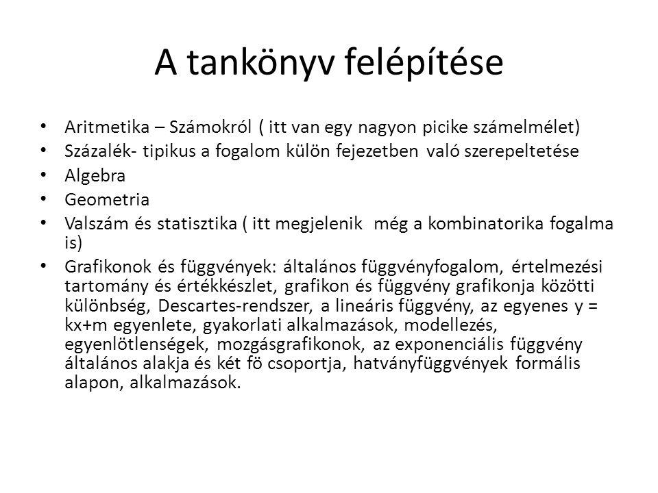 A tankönyv felépítése Aritmetika – Számokról ( itt van egy nagyon picike számelmélet)