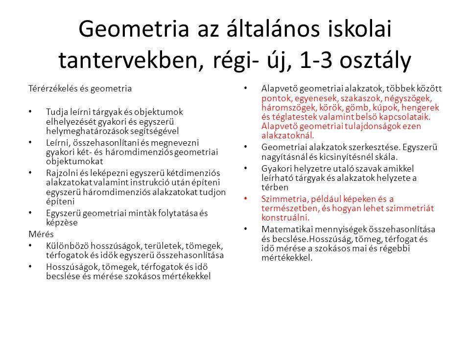Geometria az általános iskolai tantervekben, régi- új, 1-3 osztály