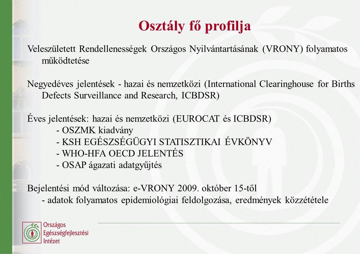 Osztály fő profilja Veleszületett Rendellenességek Országos Nyilvántartásának (VRONY) folyamatos működtetése.