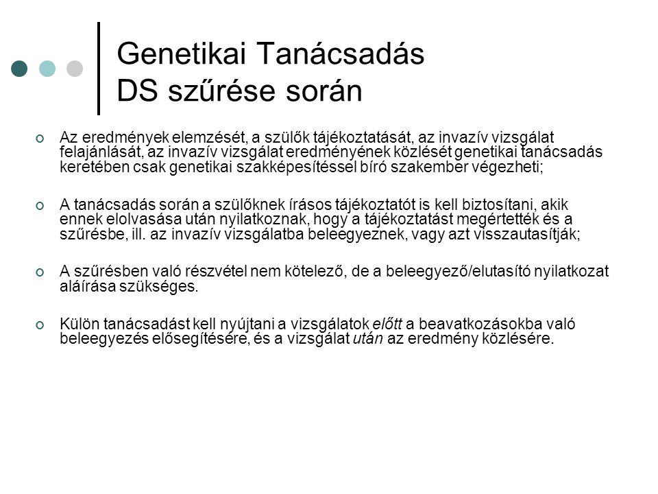 Genetikai Tanácsadás DS szűrése során
