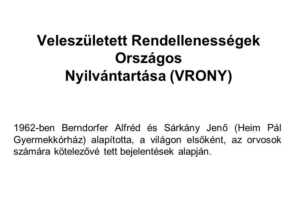 Veleszületett Rendellenességek Országos Nyilvántartása (VRONY)