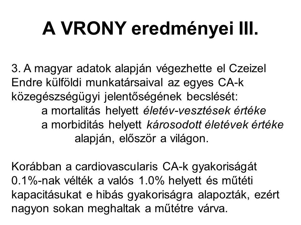 A VRONY eredményei III.