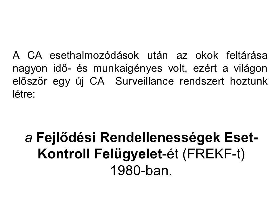 a Fejlődési Rendellenességek Eset-Kontroll Felügyelet-ét (FREKF-t)