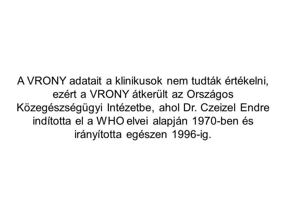 A VRONY adatait a klinikusok nem tudták értékelni, ezért a VRONY átkerült az Országos Közegészségügyi Intézetbe, ahol Dr.