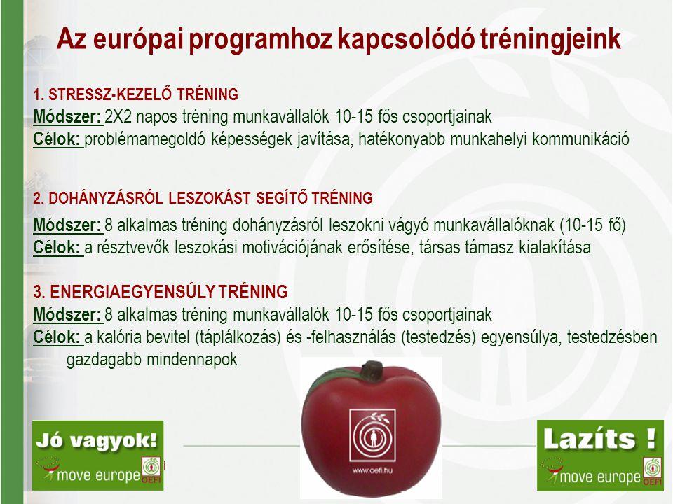 Az európai programhoz kapcsolódó tréningjeink
