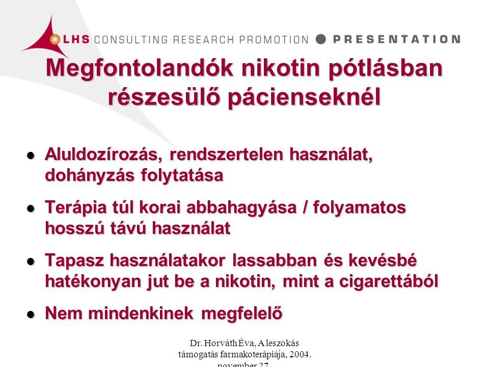 Megfontolandók nikotin pótlásban részesülő pácienseknél