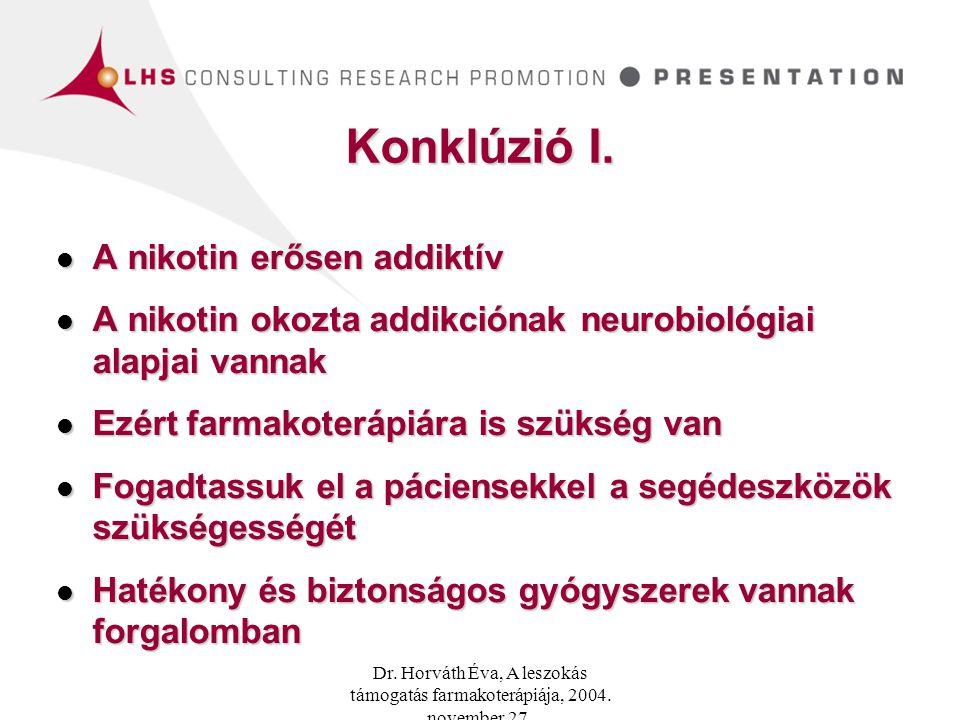 Konklúzió I. A nikotin erősen addiktív