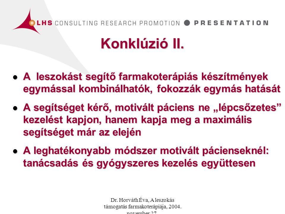 Konklúzió II. A leszokást segítő farmakoterápiás készítmények egymással kombinálhatók, fokozzák egymás hatását.