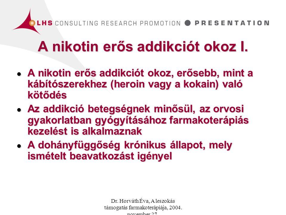 A nikotin erős addikciót okoz I.