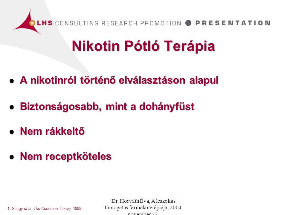 Nikotin Pótló Terápia A nikotinról történő elválasztáson alapul