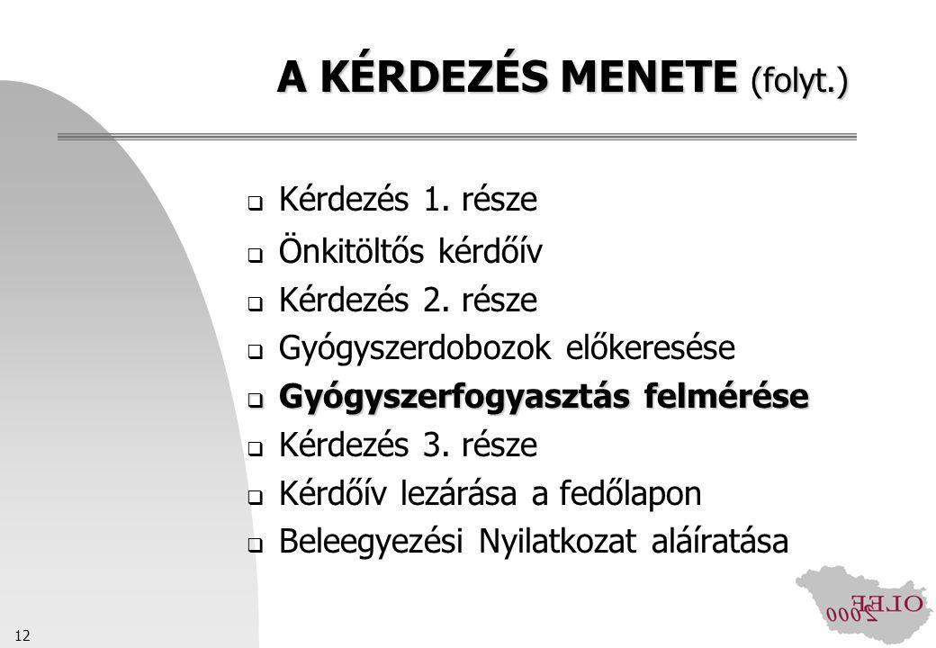 A KÉRDEZÉS MENETE (folyt.)