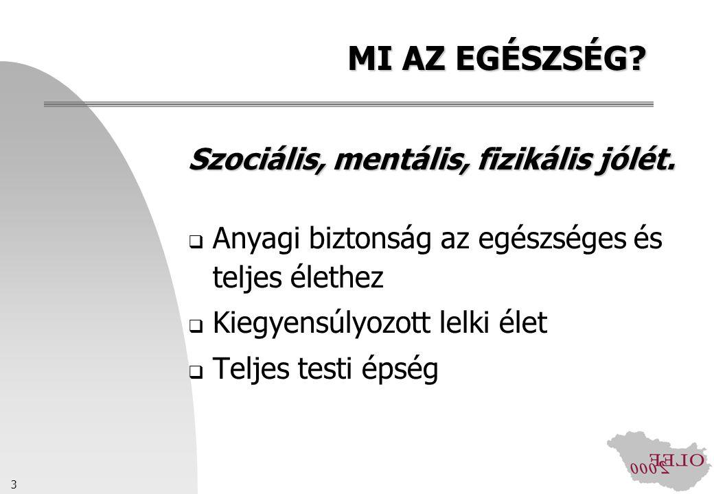 MI AZ EGÉSZSÉG Szociális, mentális, fizikális jólét.