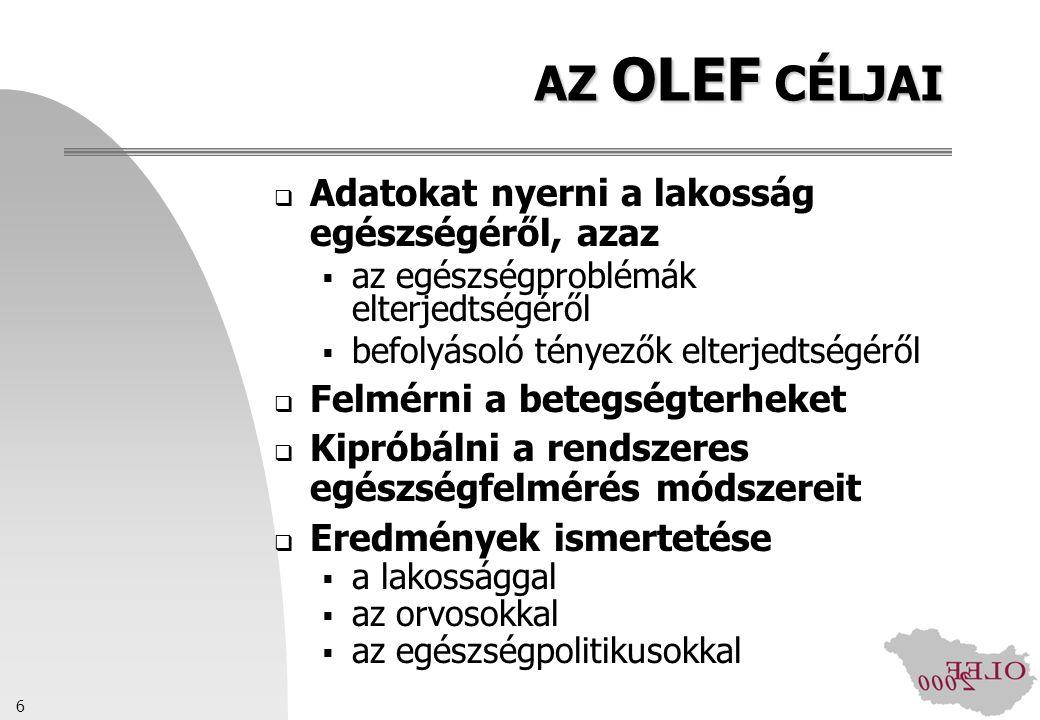 AZ OLEF CÉLJAI Adatokat nyerni a lakosság egészségéről, azaz