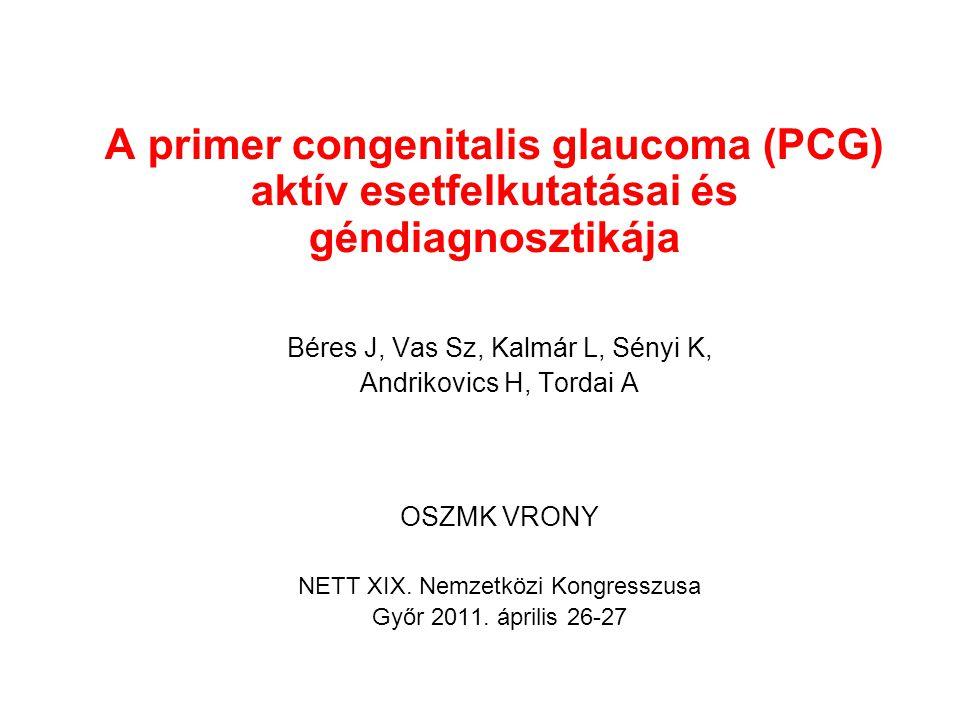 A primer congenitalis glaucoma (PCG) aktív esetfelkutatásai és géndiagnosztikája