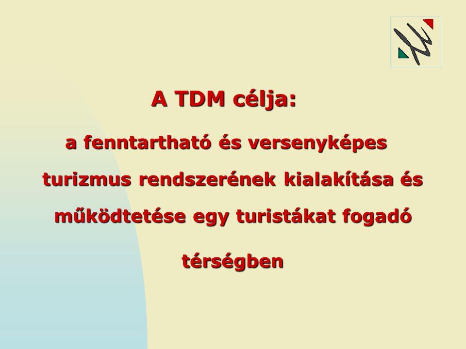 A TDM célja: a fenntartható és versenyképes turizmus rendszerének kialakítása és működtetése egy turistákat fogadó térségben.