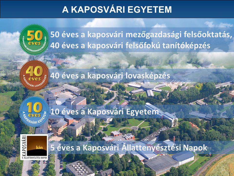 A KAPOSVÁRI EGYETEM 50 éves a kaposvári mezőgazdasági felsőoktatás, 40 éves a kaposvári felsőfokú tanítóképzés.