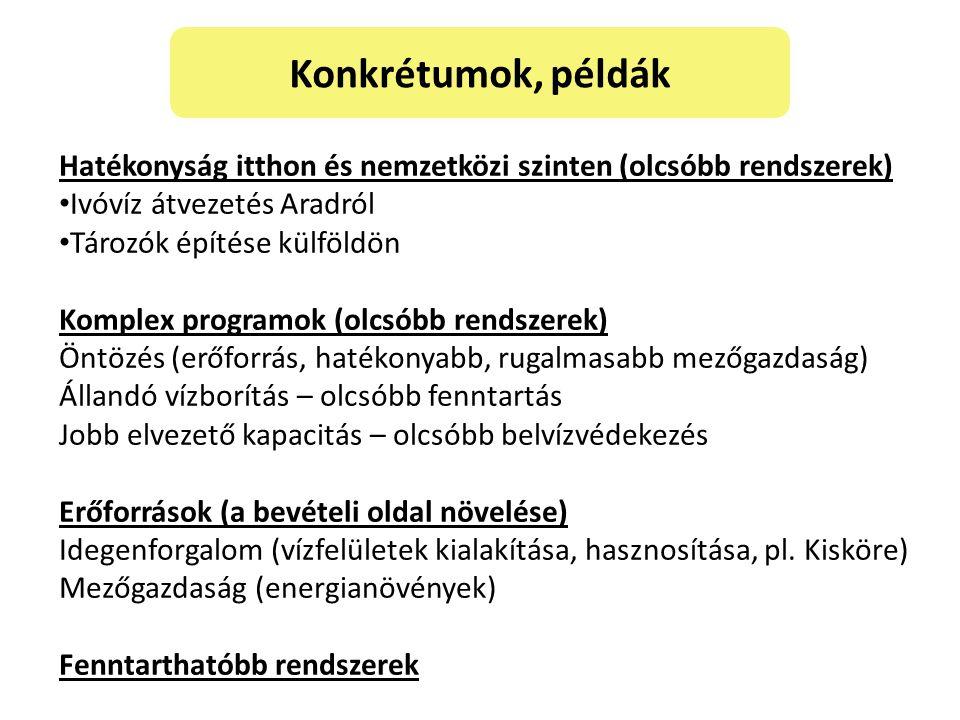 Konkrétumok, példák Hatékonyság itthon és nemzetközi szinten (olcsóbb rendszerek) Ivóvíz átvezetés Aradról.