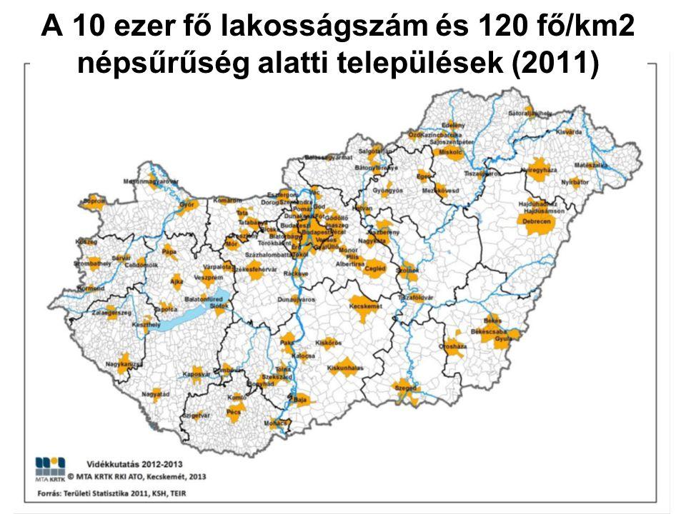 A 10 ezer fő lakosságszám és 120 fő/km2 népsűrűség alatti települések (2011)