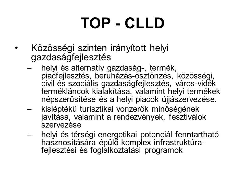 TOP - CLLD Közösségi szinten irányított helyi gazdaságfejlesztés