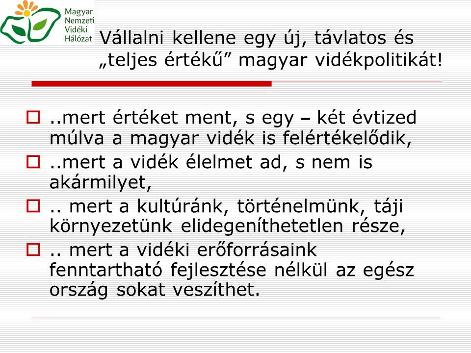 """Vállalni kellene egy új, távlatos és """"teljes értékű magyar vidékpolitikát!"""