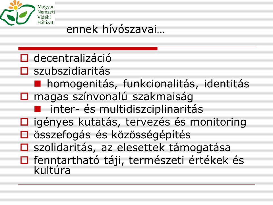 ennek hívószavai… decentralizáció. szubszidiaritás. homogenitás, funkcionalitás, identitás. magas színvonalú szakmaiság.