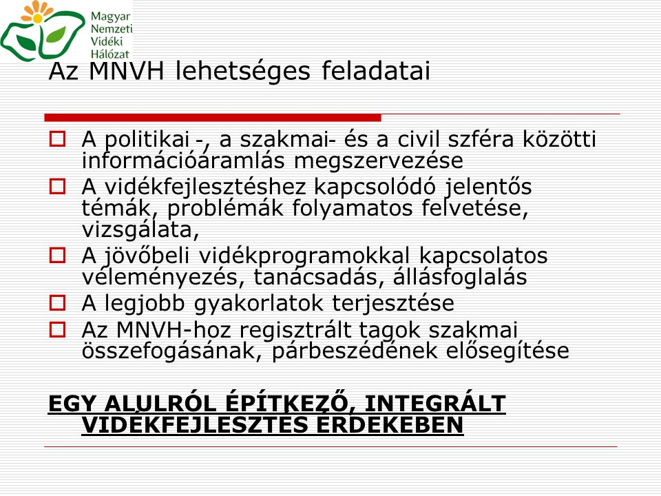 Az MNVH lehetséges feladatai