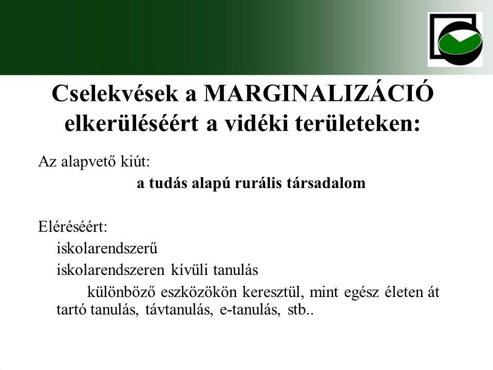 Cselekvések a MARGINALIZÁCIÓ elkerüléséért a vidéki területeken: