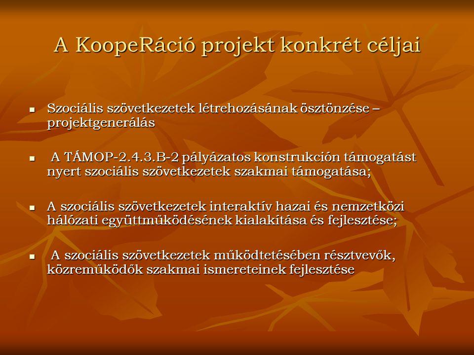 A KoopeRáció projekt konkrét céljai