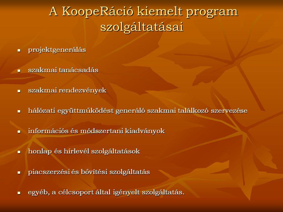 A KoopeRáció kiemelt program szolgáltatásai