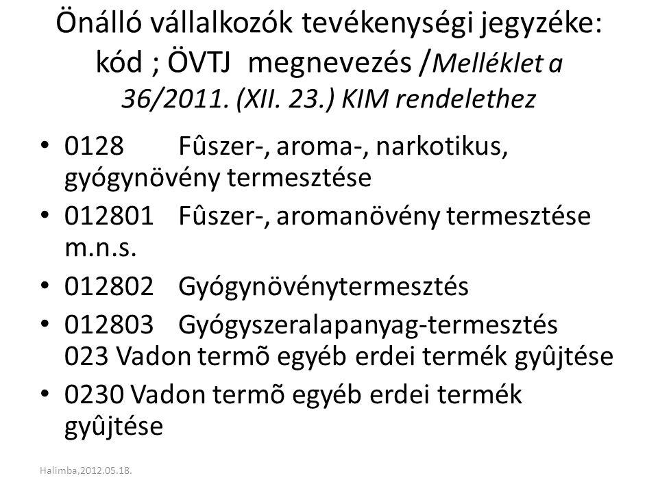 Önálló vállalkozók tevékenységi jegyzéke: kód ; ÖVTJ megnevezés /Melléklet a 36/2011. (XII. 23.) KIM rendelethez