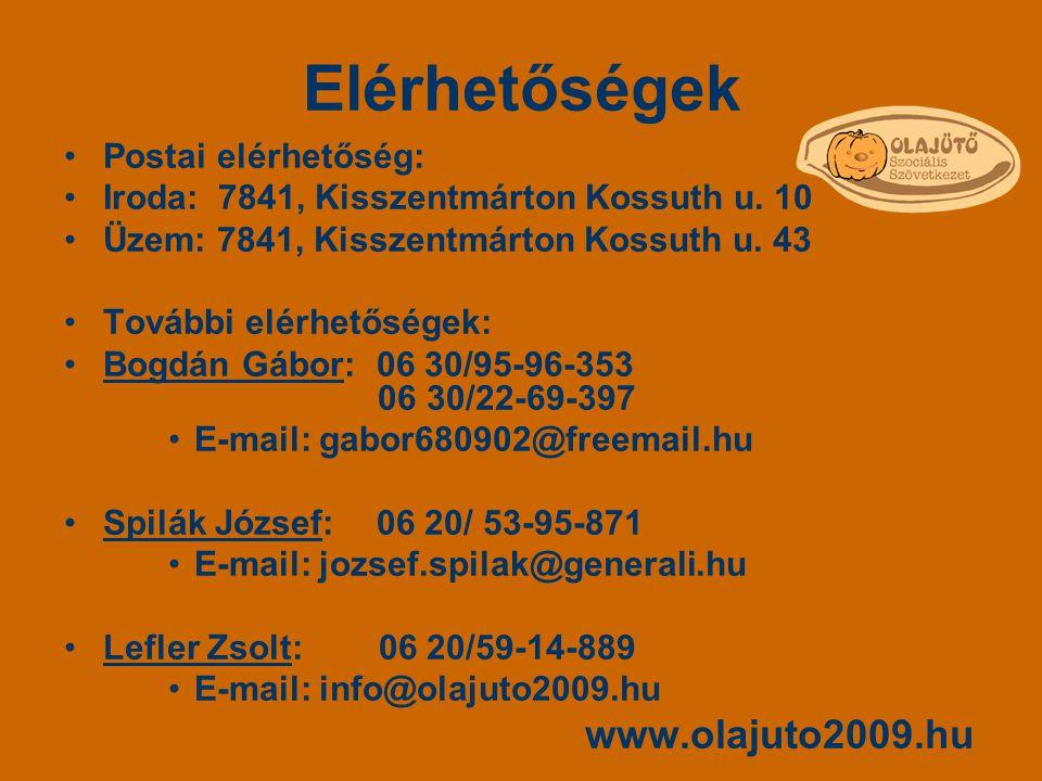 Elérhetőségek Postai elérhetőség: