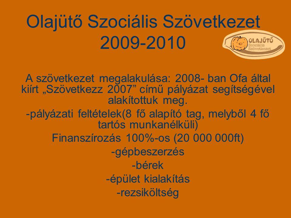 Olajütő Szociális Szövetkezet 2009-2010