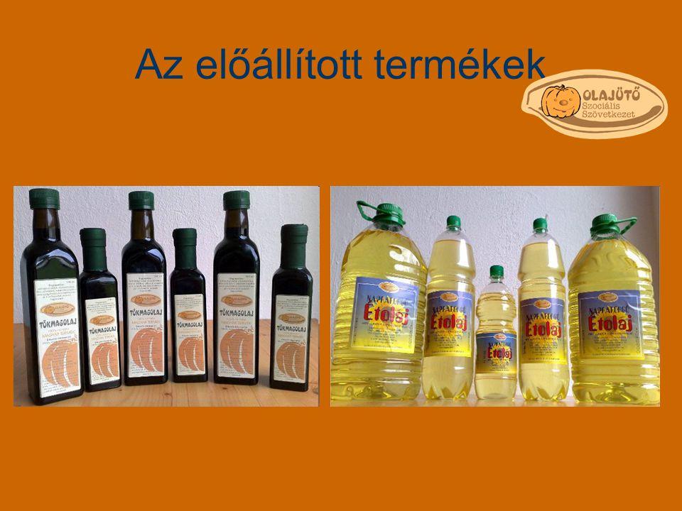 Az előállított termékek