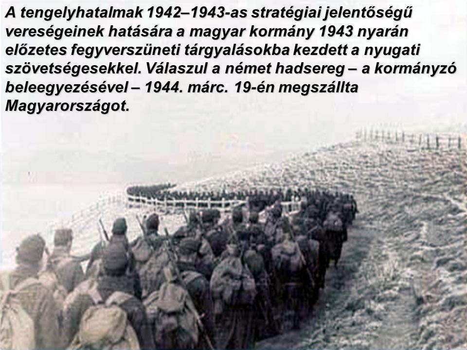 A tengelyhatalmak 1942–1943-as stratégiai jelentőségű vereségeinek hatására a magyar kormány 1943 nyarán előzetes fegyverszüneti tárgyalásokba kezdett a nyugati szövetségesekkel.