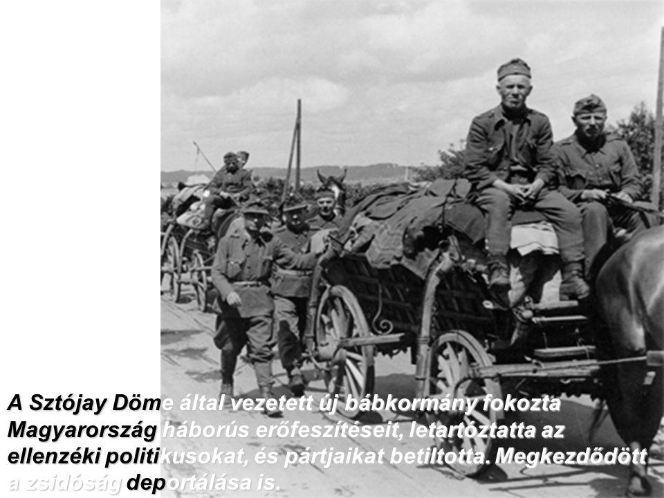 A Sztójay Döme által vezetett új bábkormány fokozta Magyarország háborús erőfeszítéseit, letartóztatta az ellenzéki politikusokat, és pártjaikat betiltotta.