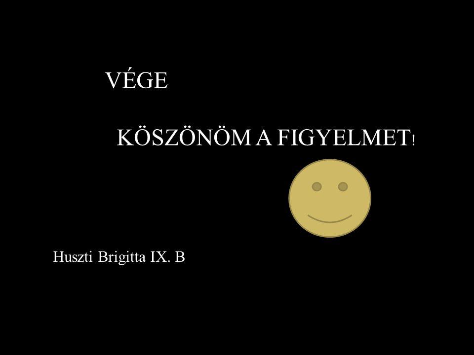 VÉGE KÖSZÖNÖM A FIGYELMET! Huszti Brigitta IX. B